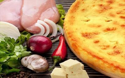 Пирог: Мясо, сыр и болгарский перец